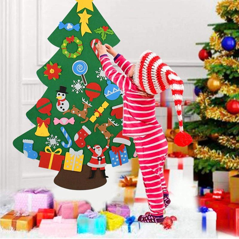 Kids DIY Felt Christmas Tree with 33PC Detachable Ornaments 1