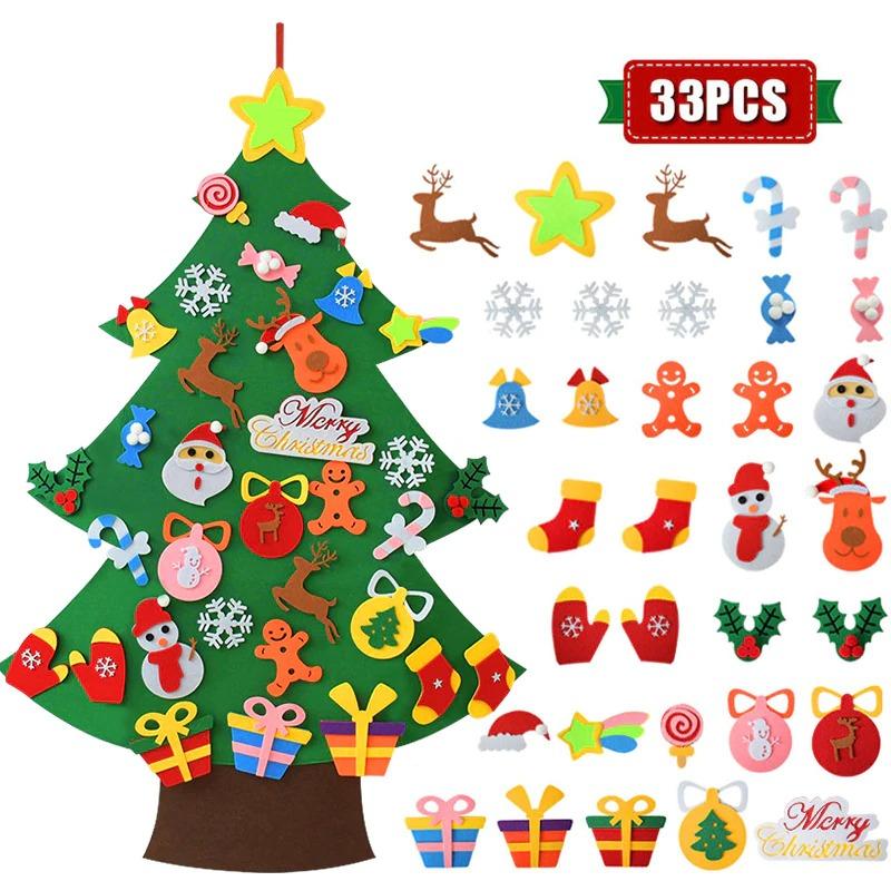 Kids DIY Felt Christmas Tree with 33PC Detachable Ornaments 2