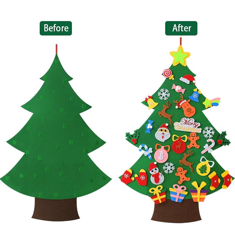 Kids DIY Felt Christmas Tree with 33PC Detachable Ornaments 4