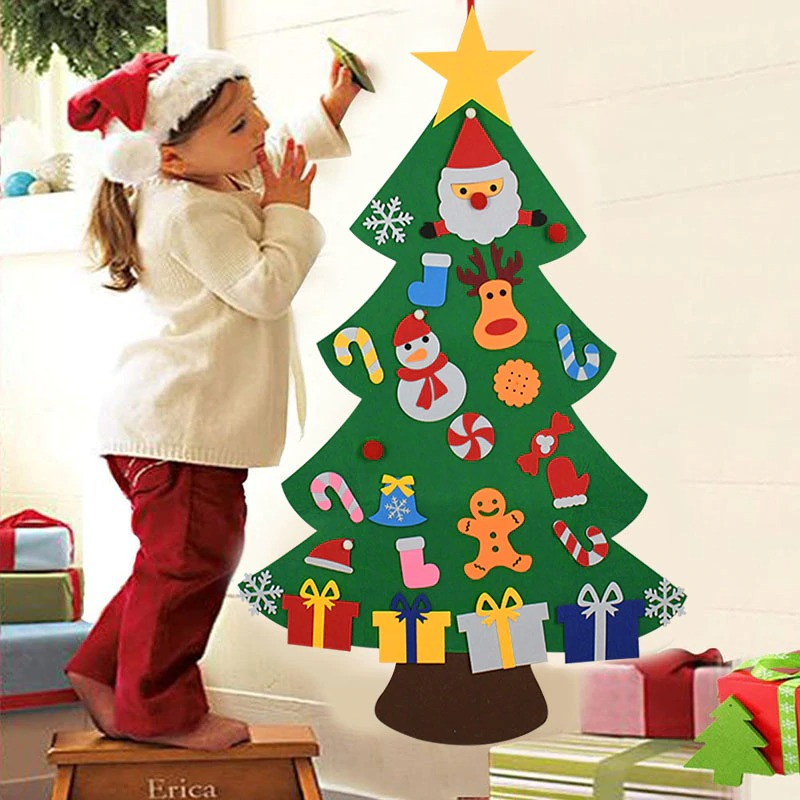 Kids DIY Felt Christmas Tree with 33PC Detachable Ornaments