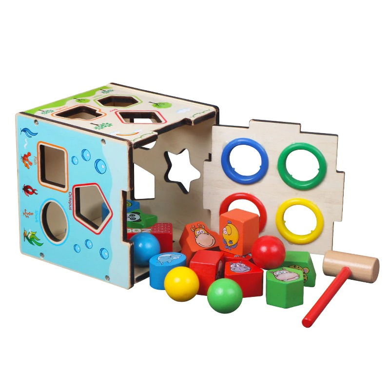 Montessori Cognitive Shapes Matching Cube bolzor.com 1