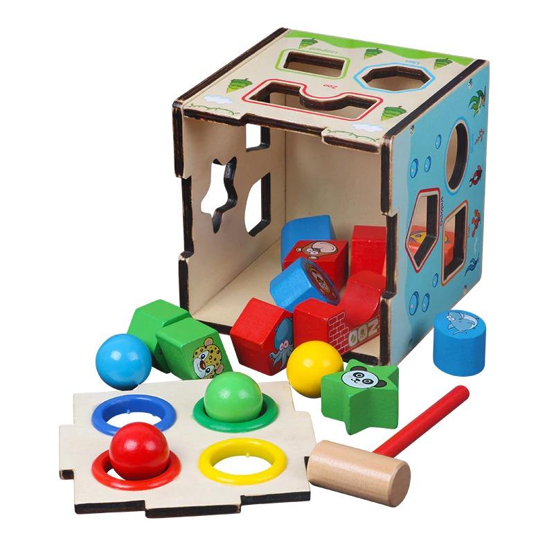 Montessori Cognitive Shapes Matching Cube bolzor.com 2