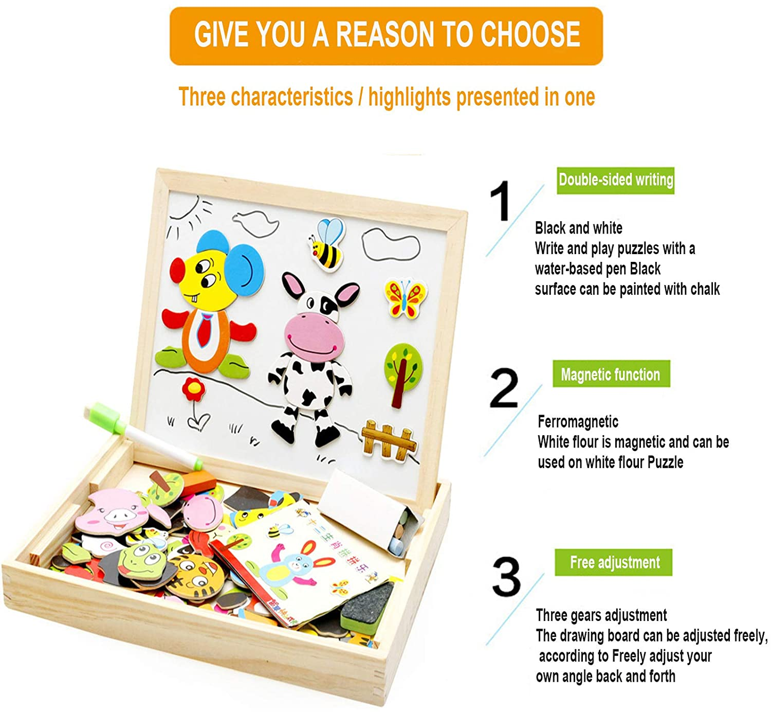 Wooden Magnetic Puzzle Drawing Board 2