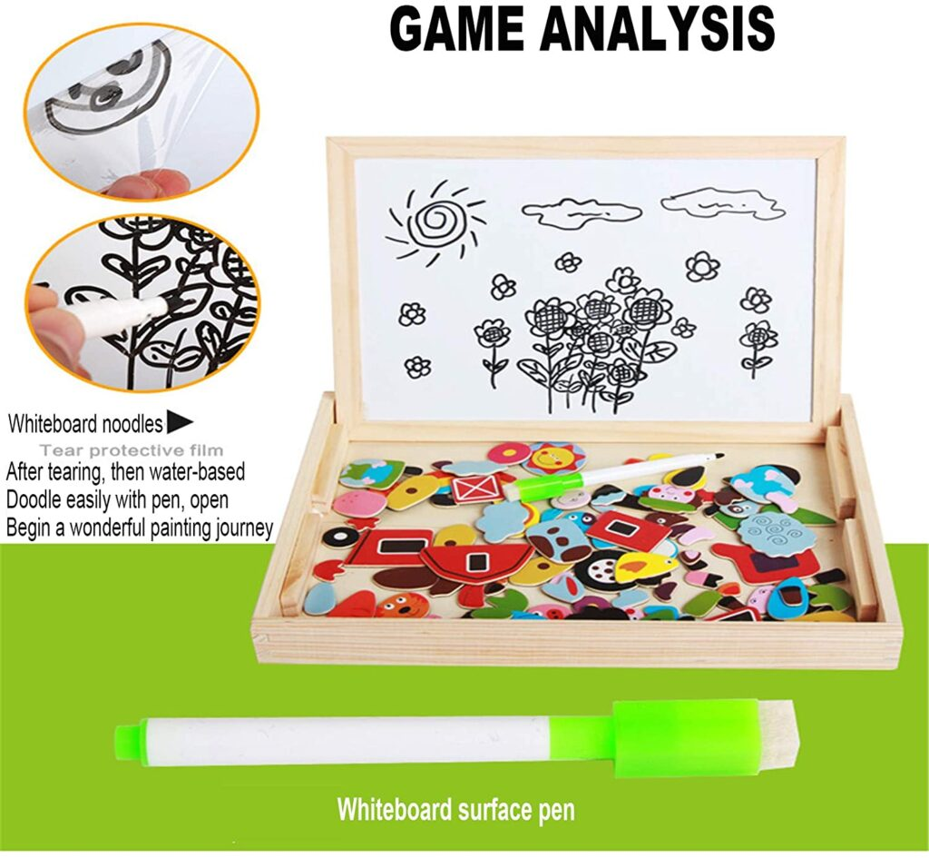 Wooden Magnetic Puzzle Drawing Board for kids at bolzor.com