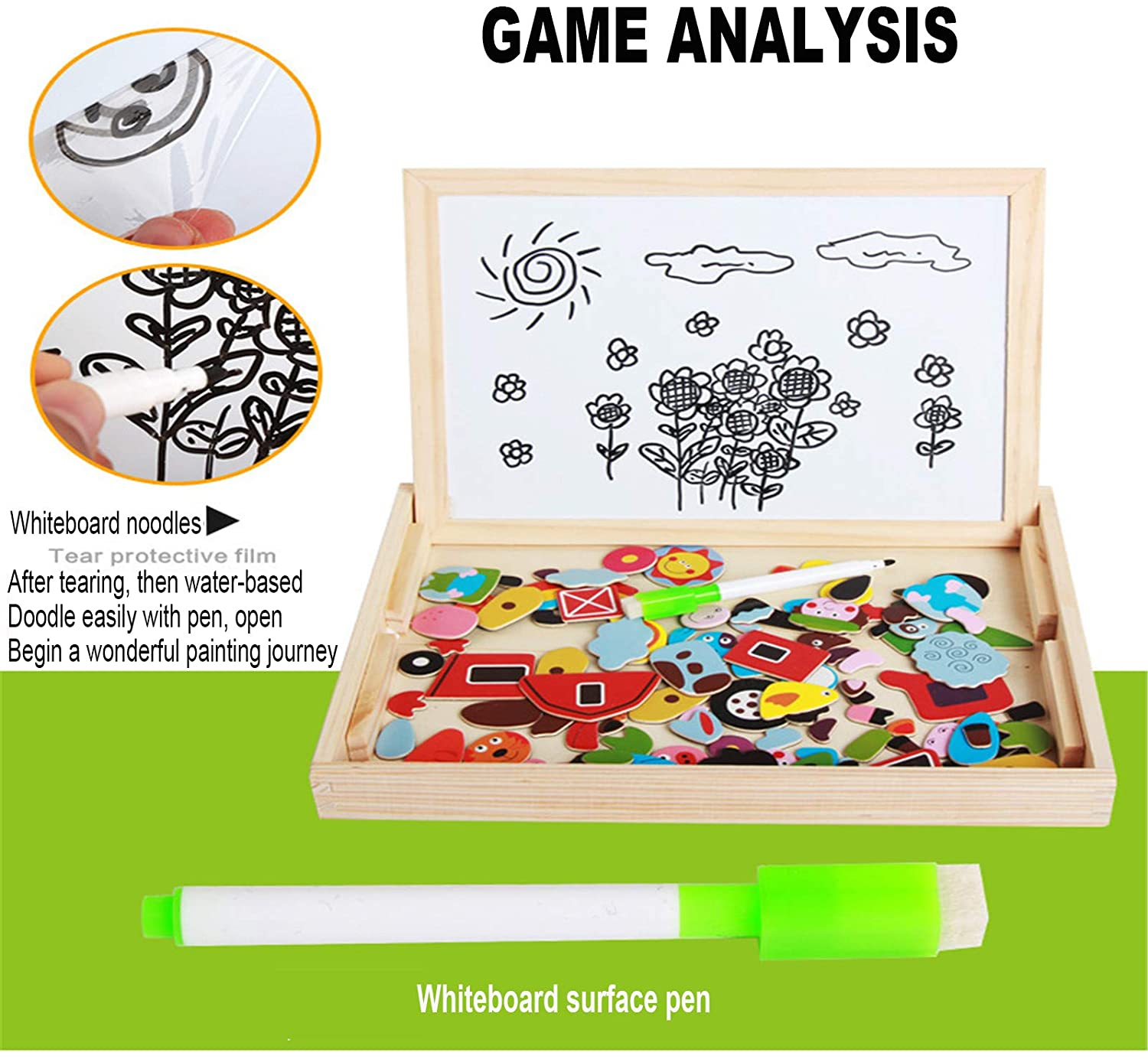 Wooden Magnetic Puzzle Drawing Board 3