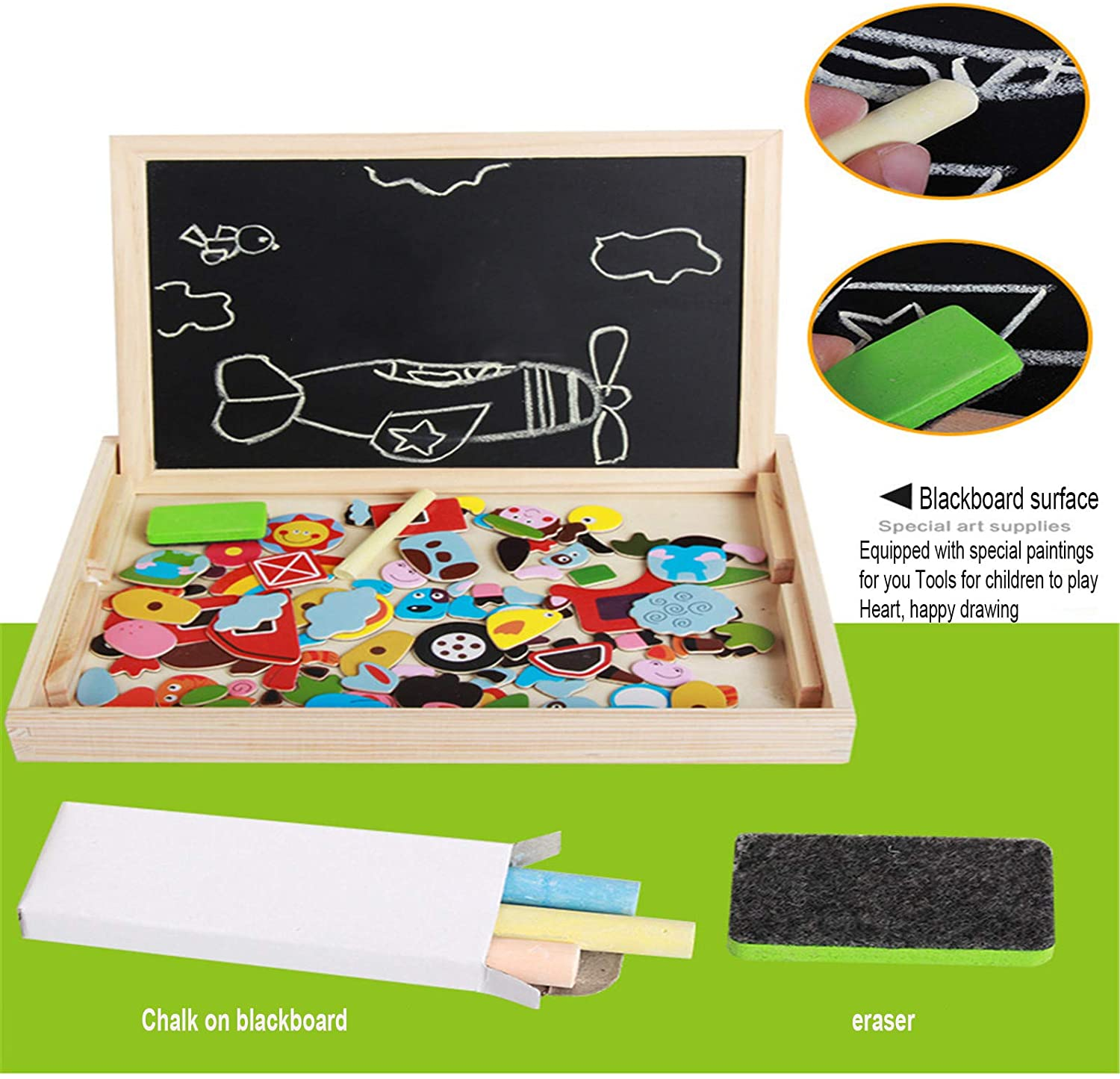 Wooden Magnetic Puzzle Drawing Board 4