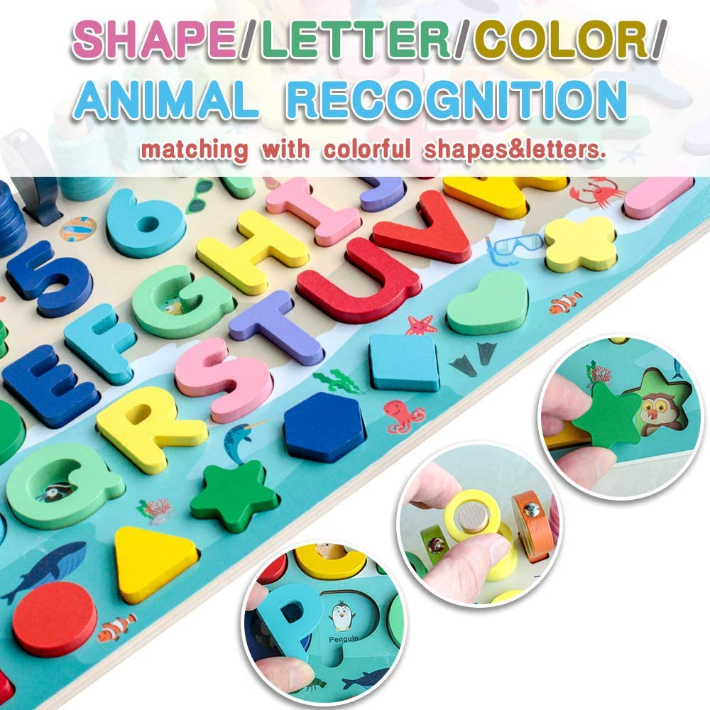 Wooden Number Puzzle Game Montessori Toys For Toddlers