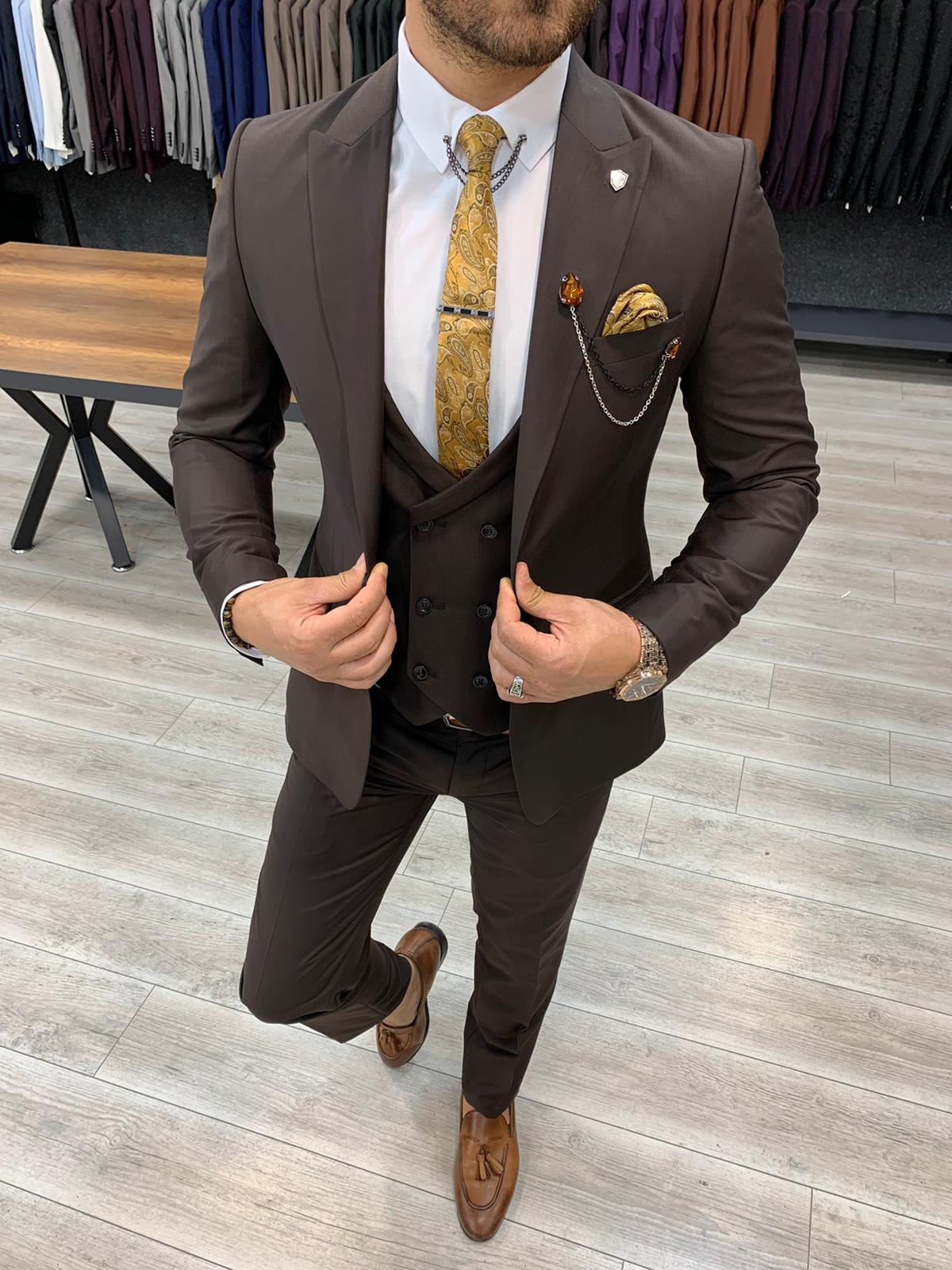 BespokeDaily Ventura Coffee Slim Fit Wool Suit (3)