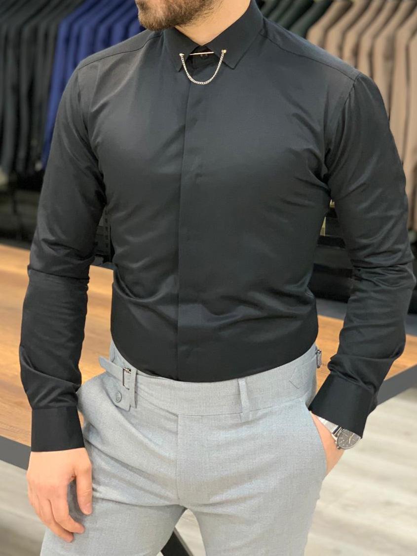 Carmel Black Slim Fit Pin Collar Shirt (1)