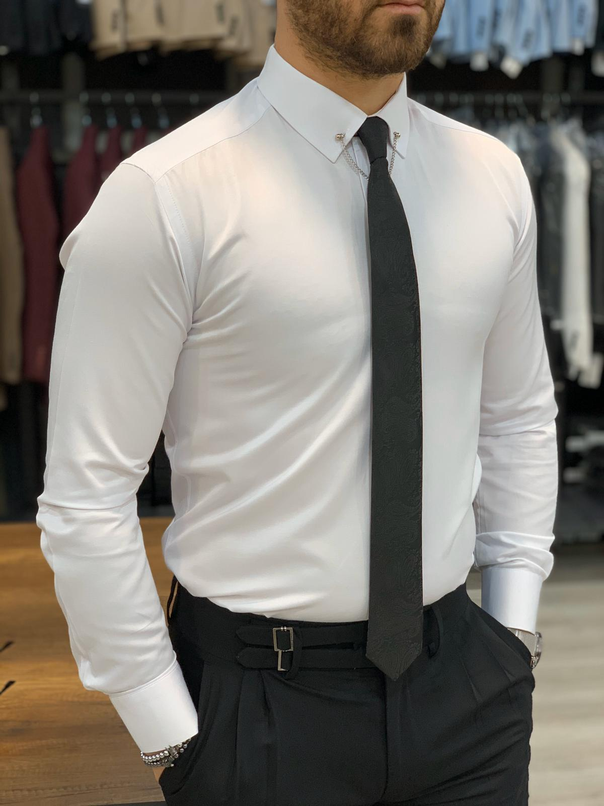 Carmel White Slim Fit Pin Collar Shirt (2)