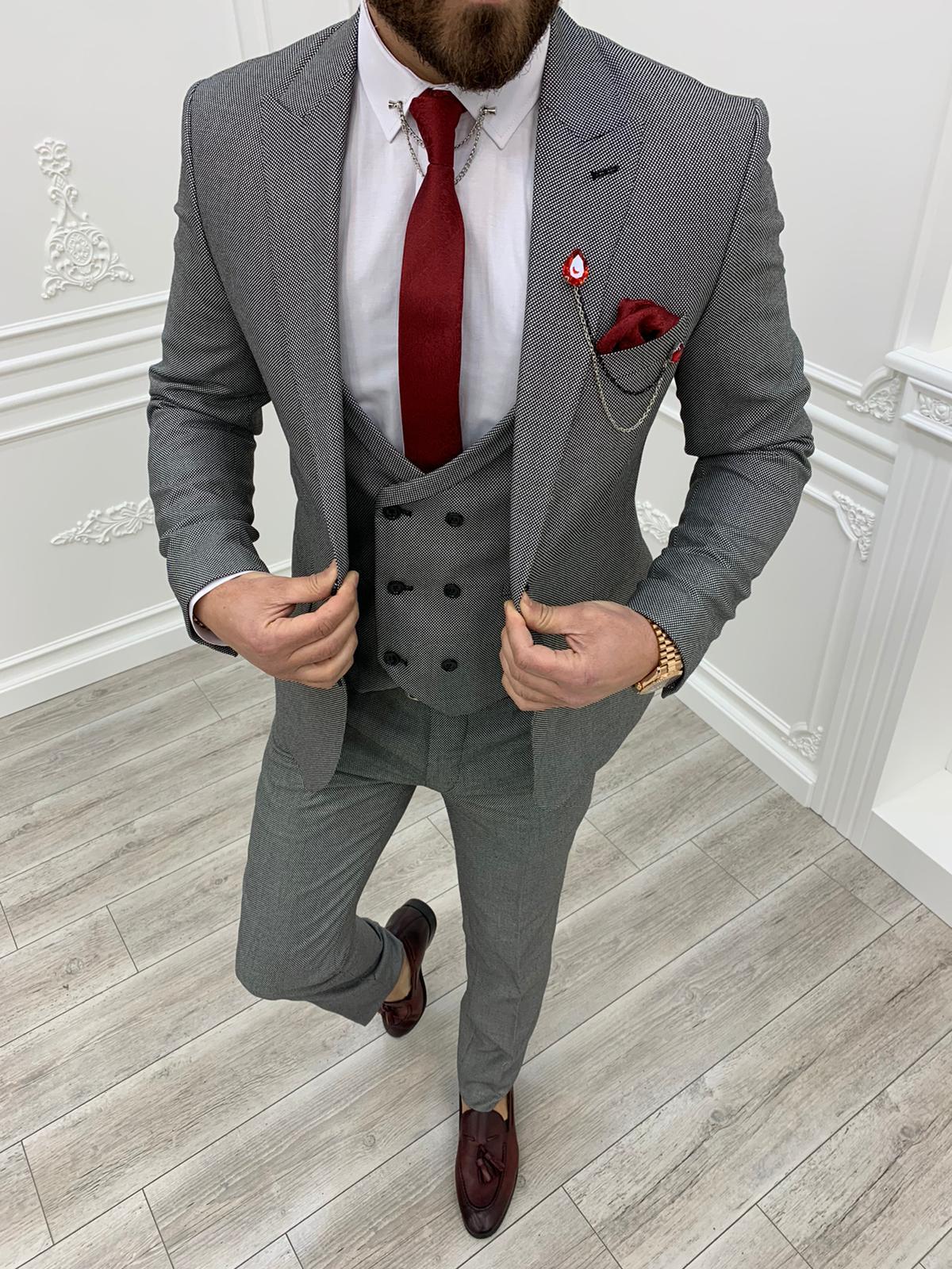 Salem Gray Slim Fit Wool Suit (1)
